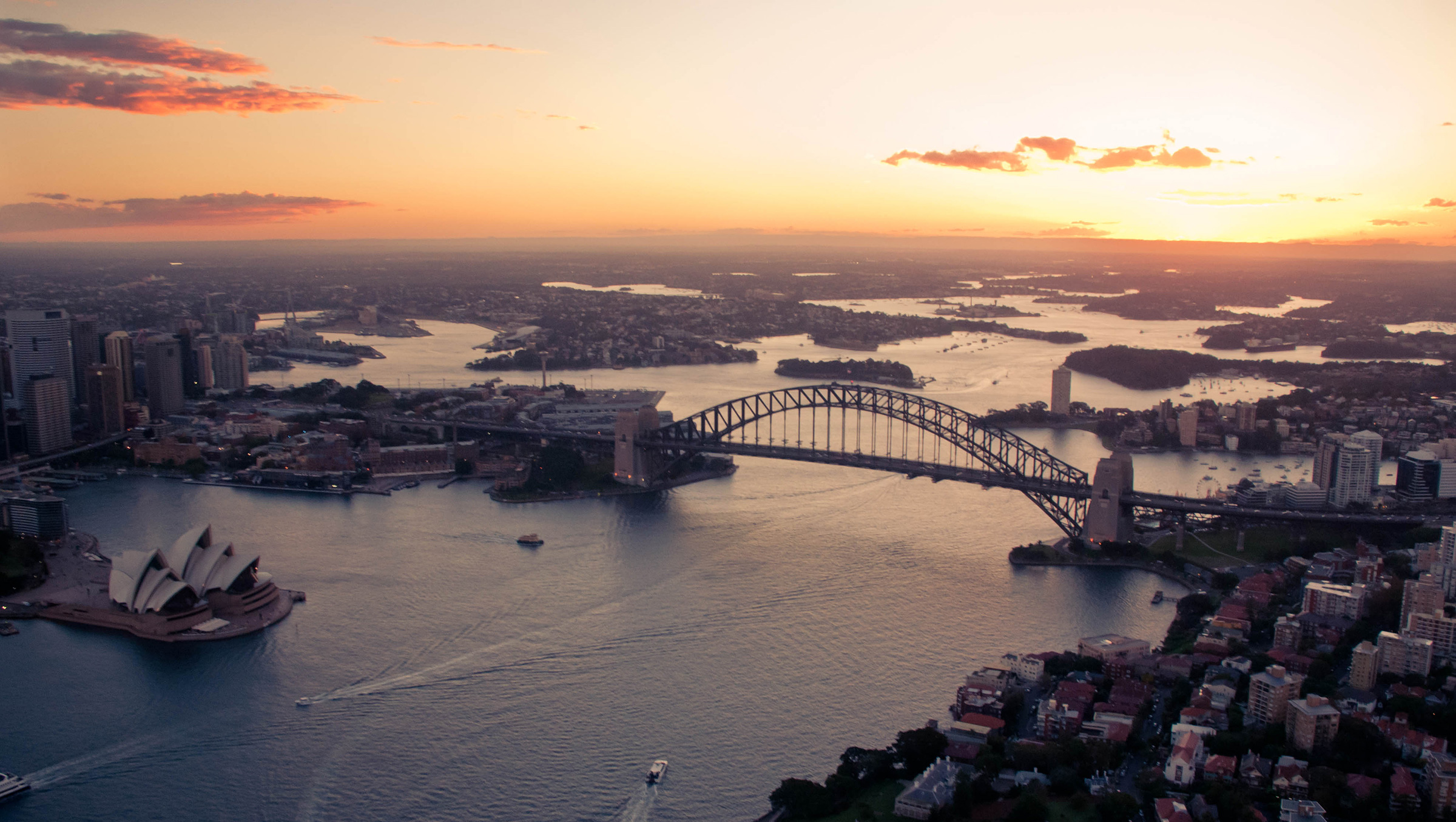 Aerial sunset of Sydney - by Seb Ruiz