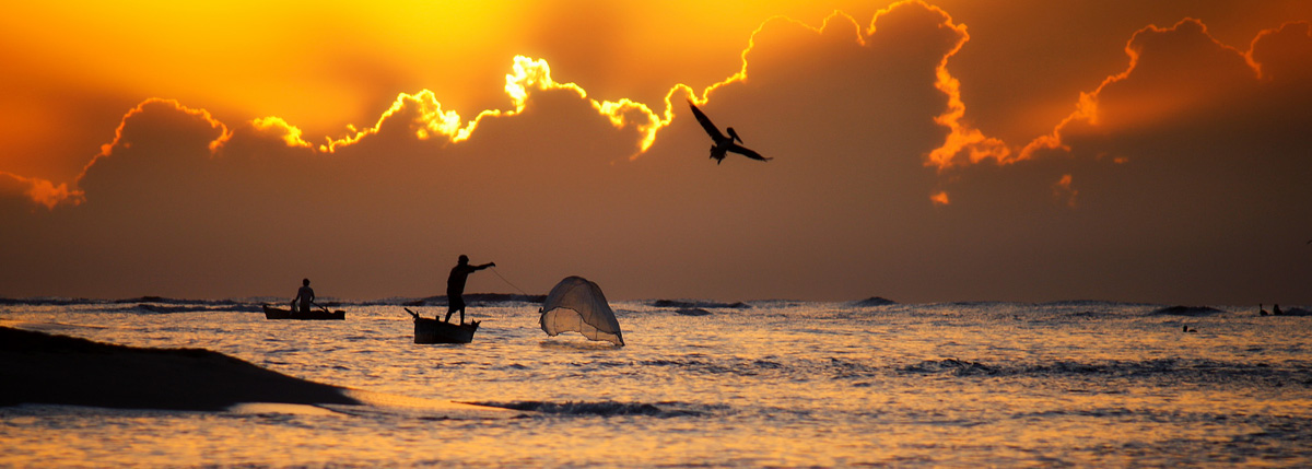Fisherman at Sunrise in the Dominican Republic - by Michael Matti