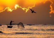 Fisherman at Sunrise in the Dominican Republic - by Michael Matti